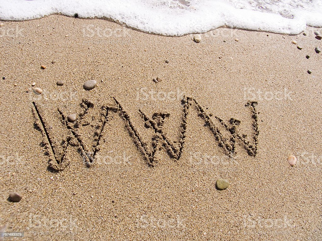 WWW on sand royalty-free stock photo