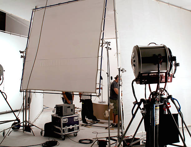 On set of a television commercial production. stock photo