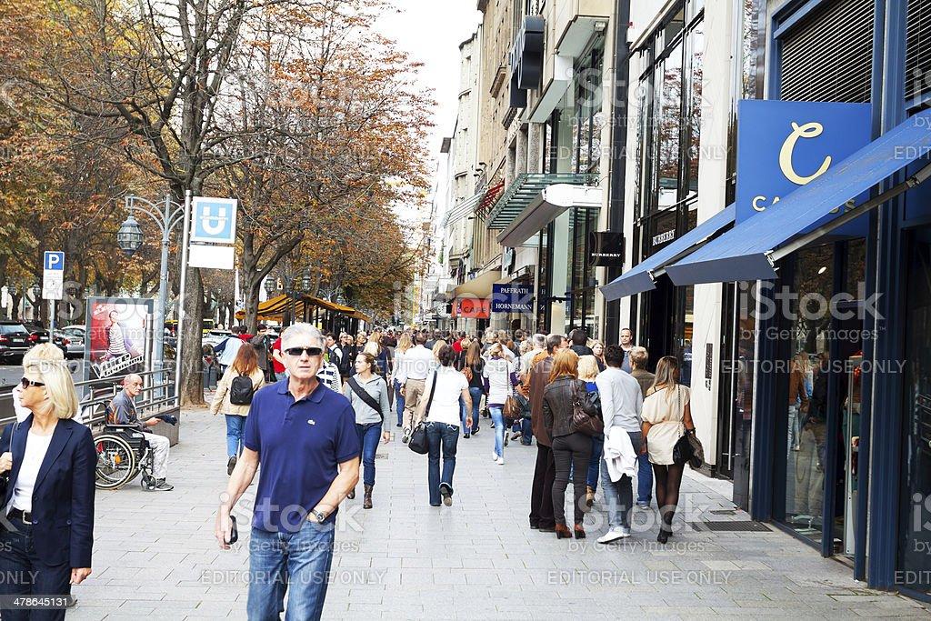 On shopping street Kö in Düsseldorf stock photo