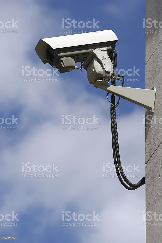 CCTV on side of building royalty-free stock photo