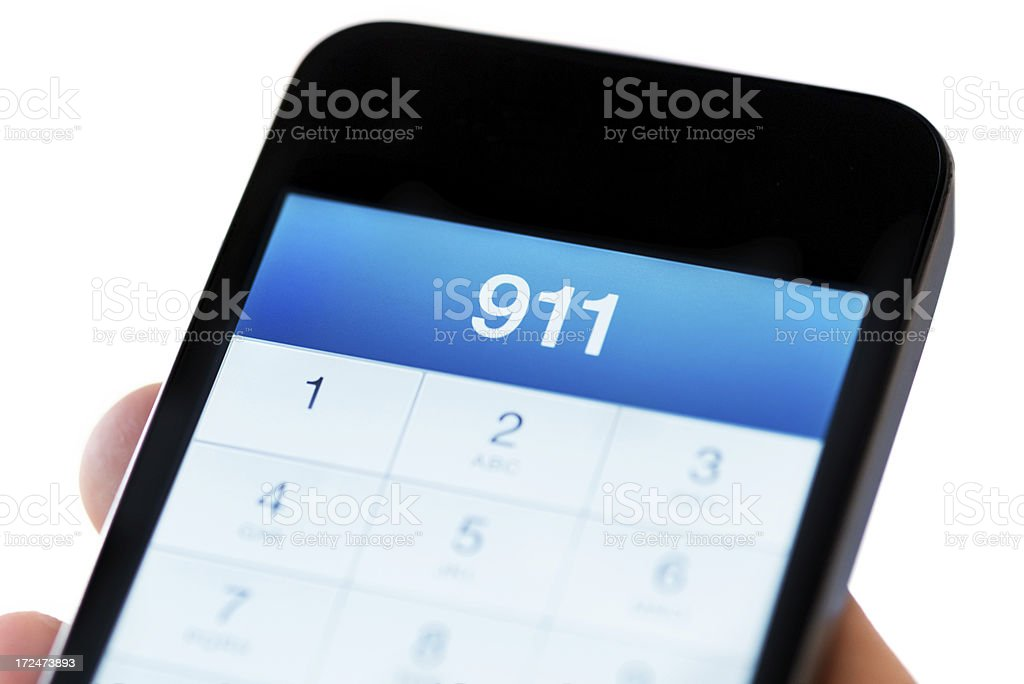 911 on Smart Phone stock photo