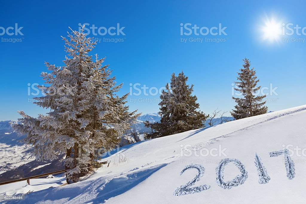 2017 on snow at mountains - St. Gilgen Austria stock photo
