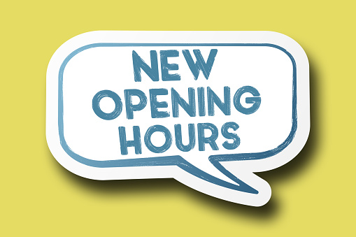 istock NEW OPENING HOURS on speech bubble against  bright yellow background 1194576684