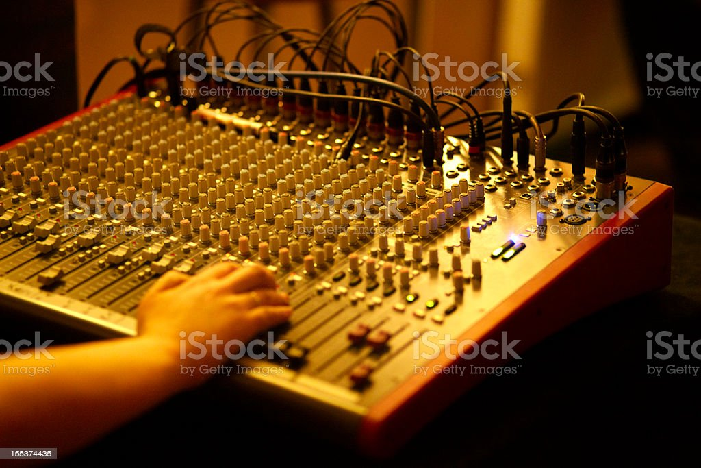 On stage sound mixer royalty-free stock photo