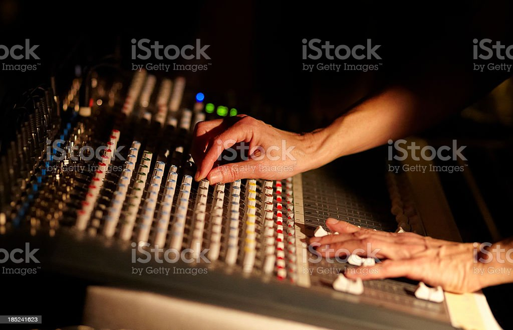 On stage sound mixer royalty-free stock photo