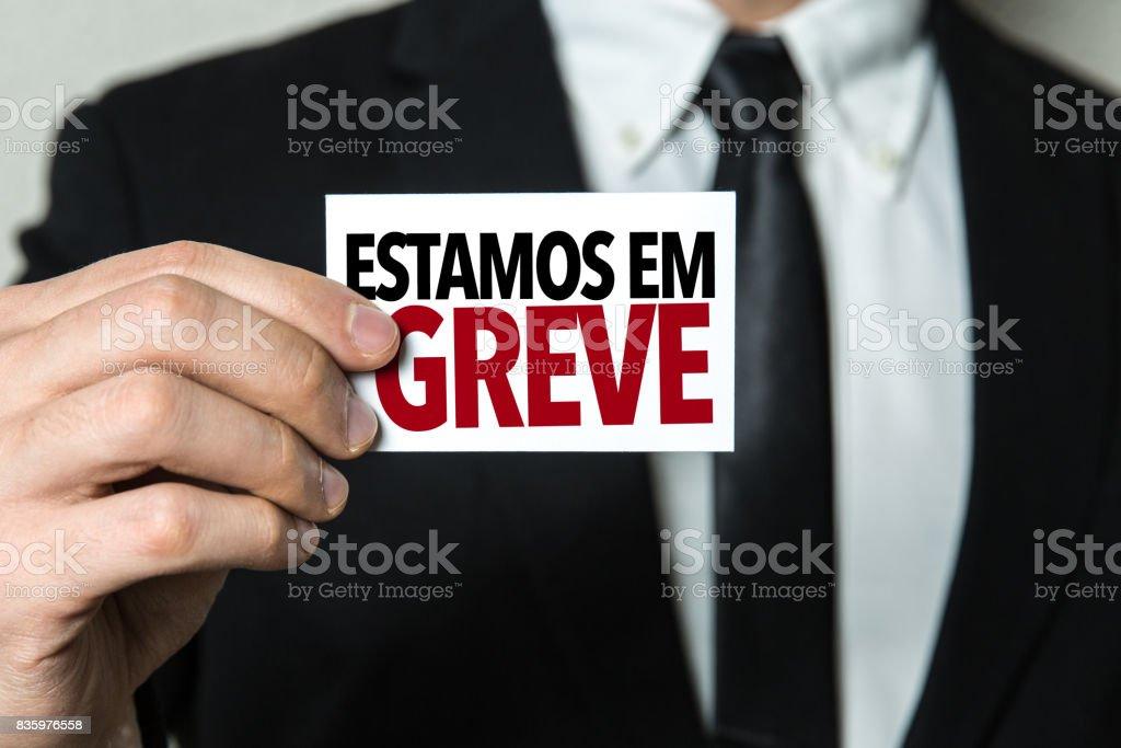 On Strike (in Portuguese) stock photo