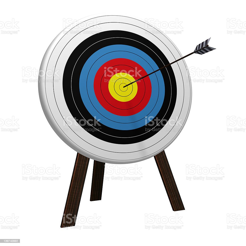On Target with white background stock photo