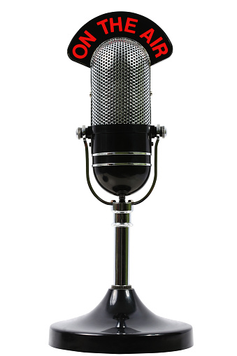 On the air microphone on a white background.