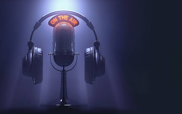 "On The Air Headset on the microphone with the ""On The Air"" light on. radio dj stock pictures, royalty-free photos & images"