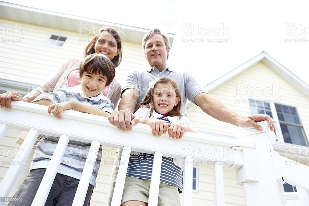 On the balcony of their home royalty-free stock photo