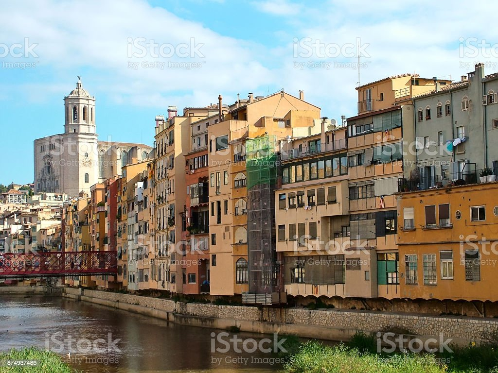On the banks of the river Onyar in Girona, Spain stock photo