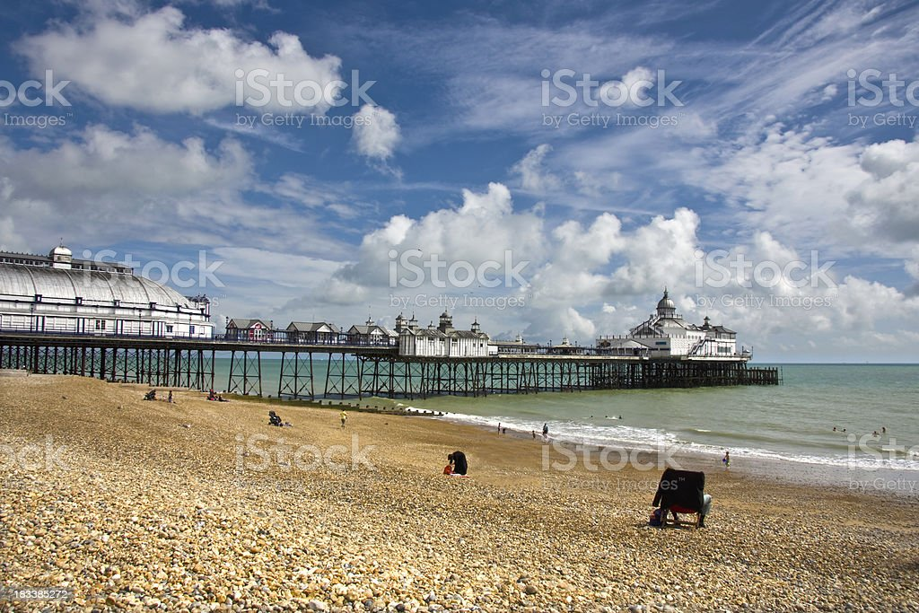 On the beach at Eastbourne stock photo