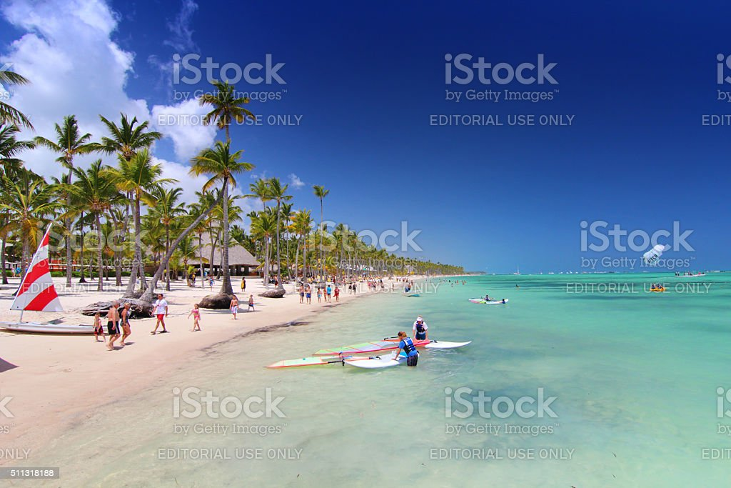On the beach in Dominican Republic stock photo