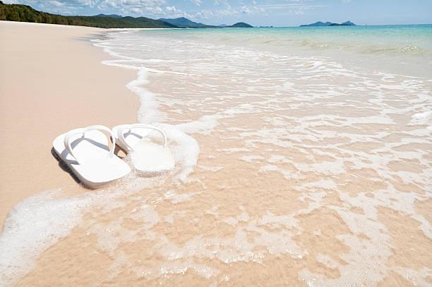 am strand - salzwasser sandalen stock-fotos und bilder