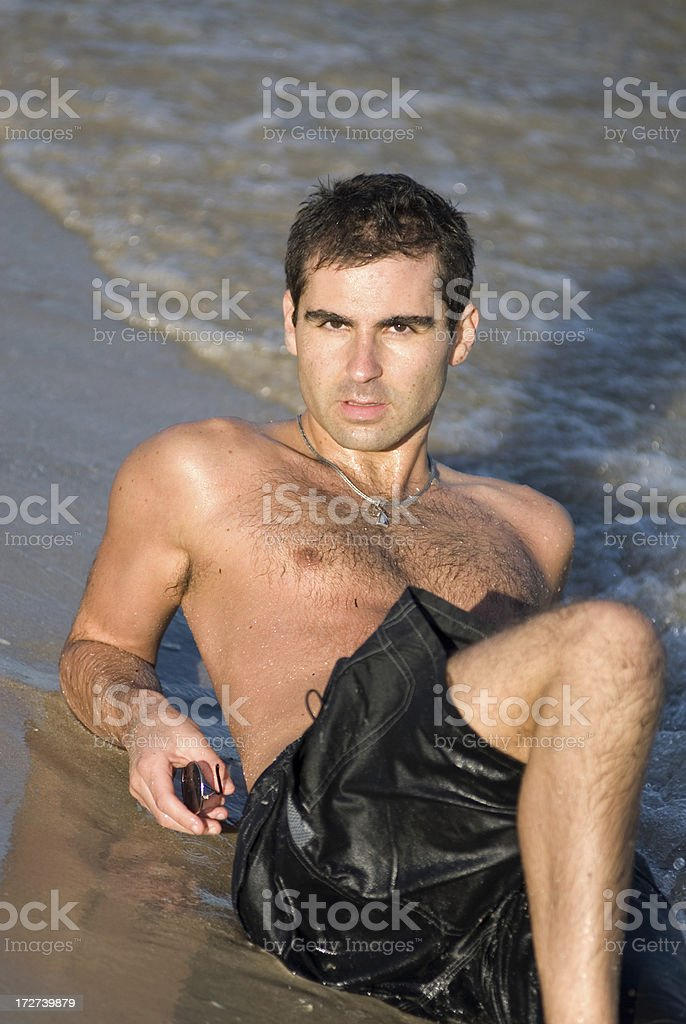 On the beach without sunglasses royalty-free stock photo
