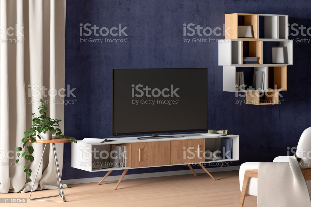 Tv On The Cabinet In Modern Living Room On Blue Wall
