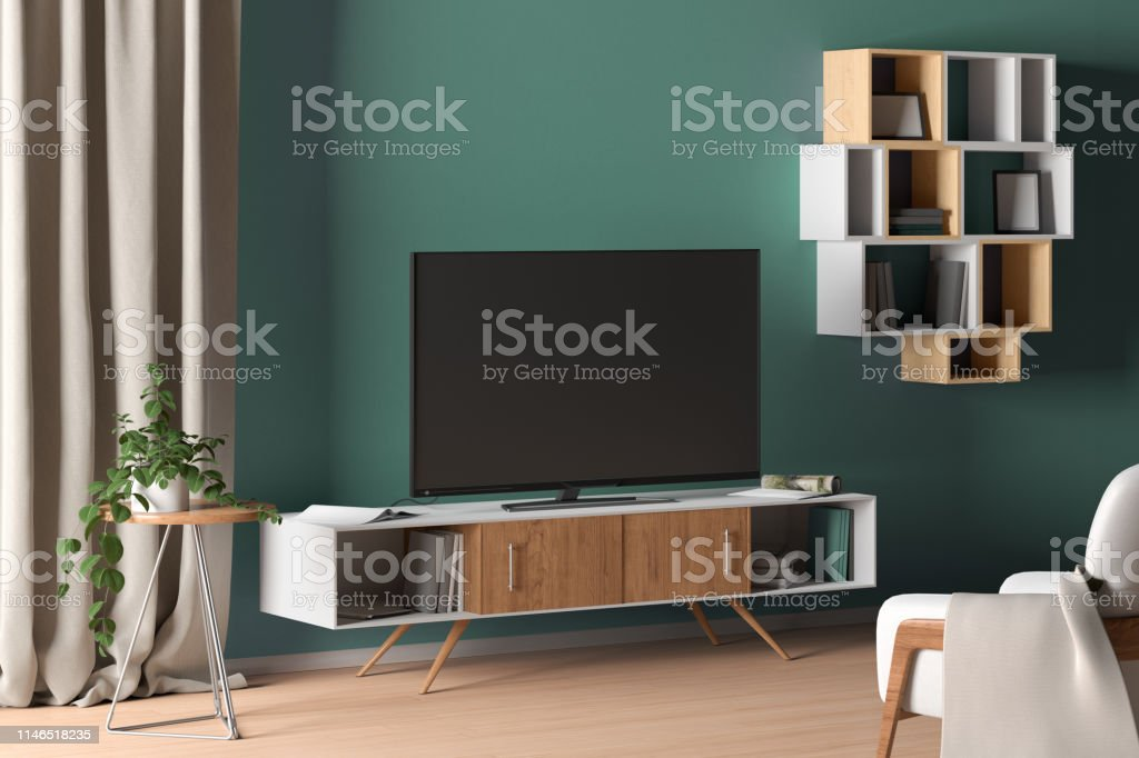 Tv On The Cabinet In Modern Living Room On Turquoise Wall Background Stock Photo Download Image Now Istock