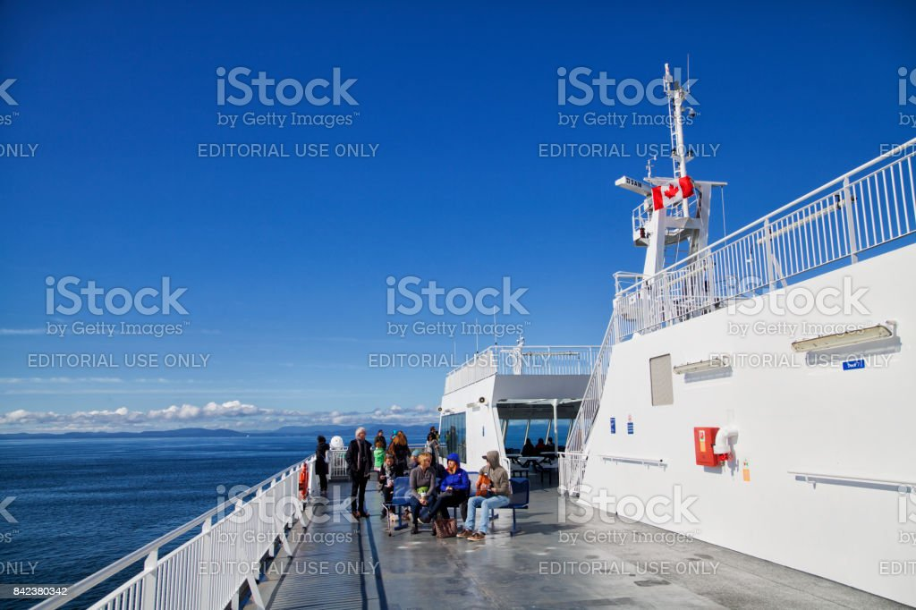 On the deck of ferry to Victoria, BC, Canada stock photo