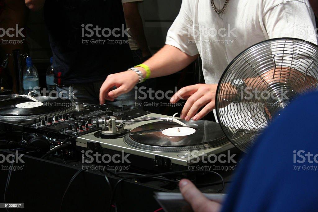 DJ on the decks 001 royalty-free stock photo