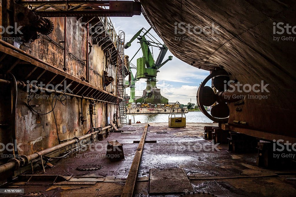On the dry dock stock photo