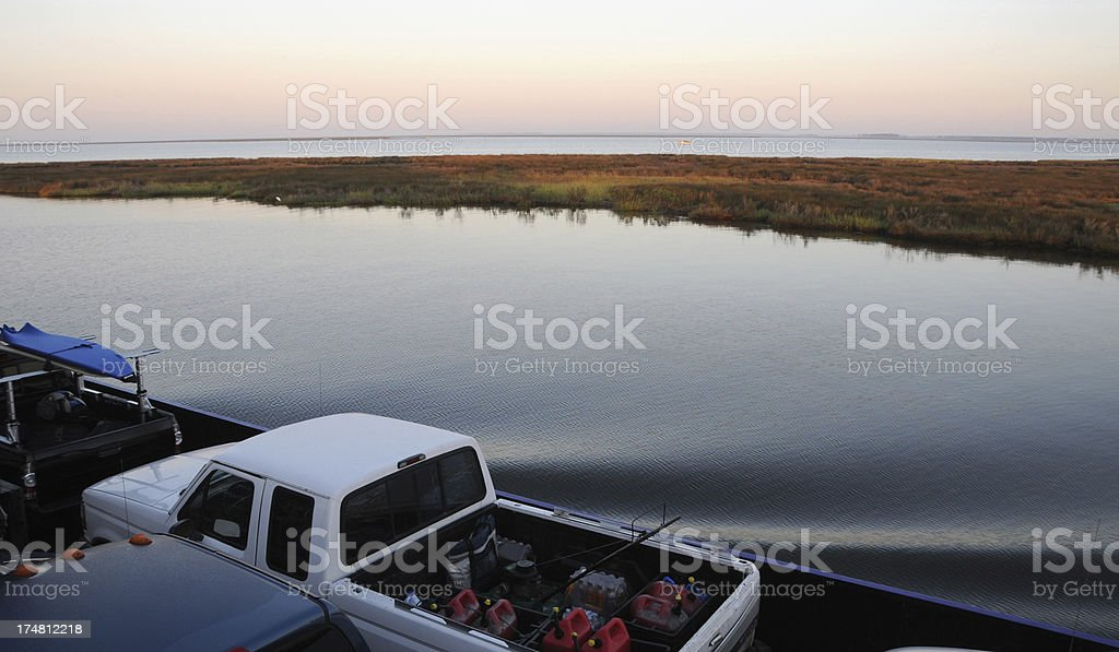 On the Early Morning Ferry to Ocracoke, Outer Banks, NC stock photo
