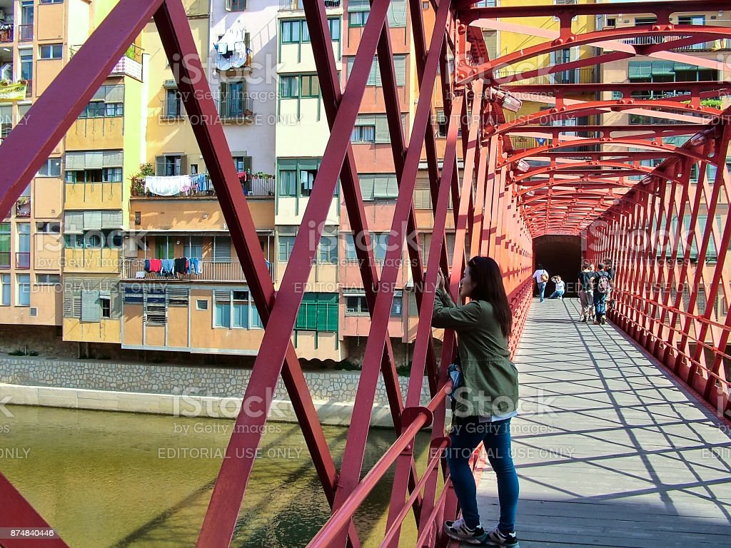 On  the Eiffel Bridge in Girona, Spain stock photo