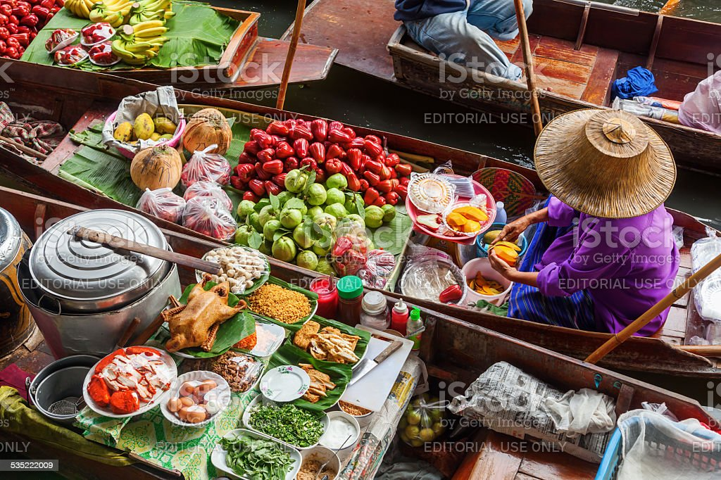 on the floating market Damnoen Saduak in Bangkok stock photo