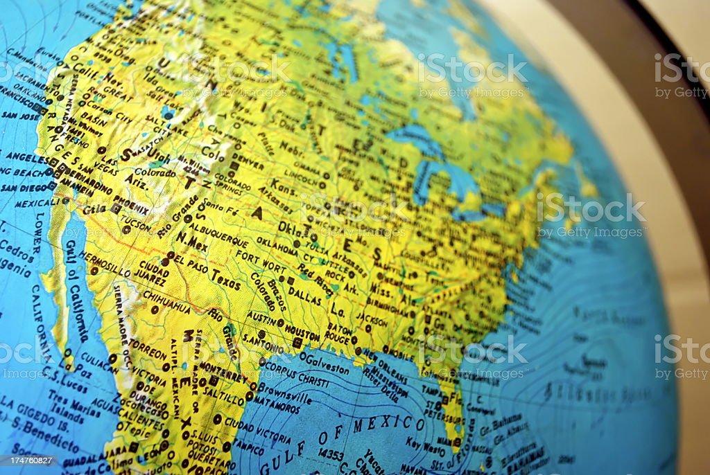 USA on the Globe royalty-free stock photo