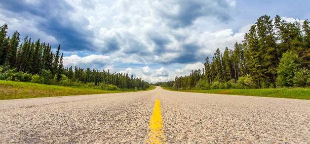 On the highway between Grande Prairie and Grande Cache Alberta Canada stock photo