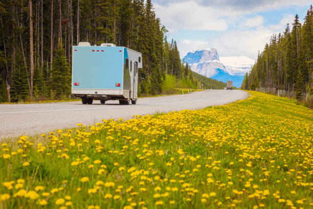 Wohnmobil auf der Autobahn im Jasper Nationalpark – Foto