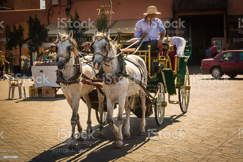On the Jemaa el Fna square in Marrakesh stock photo