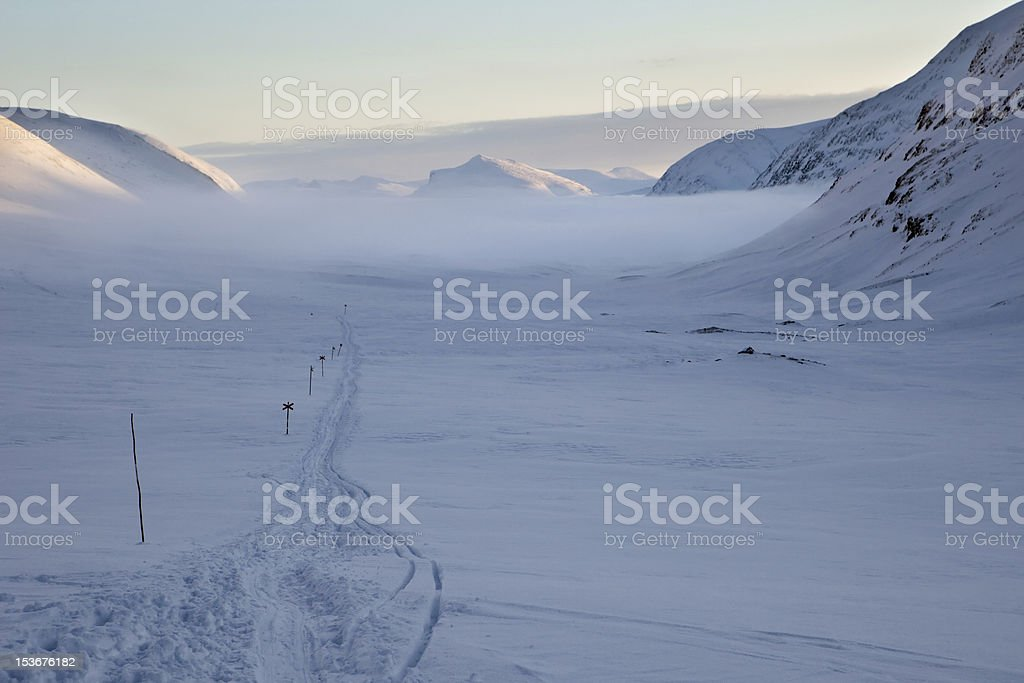 on the Kungsleden at wintertime royalty-free stock photo