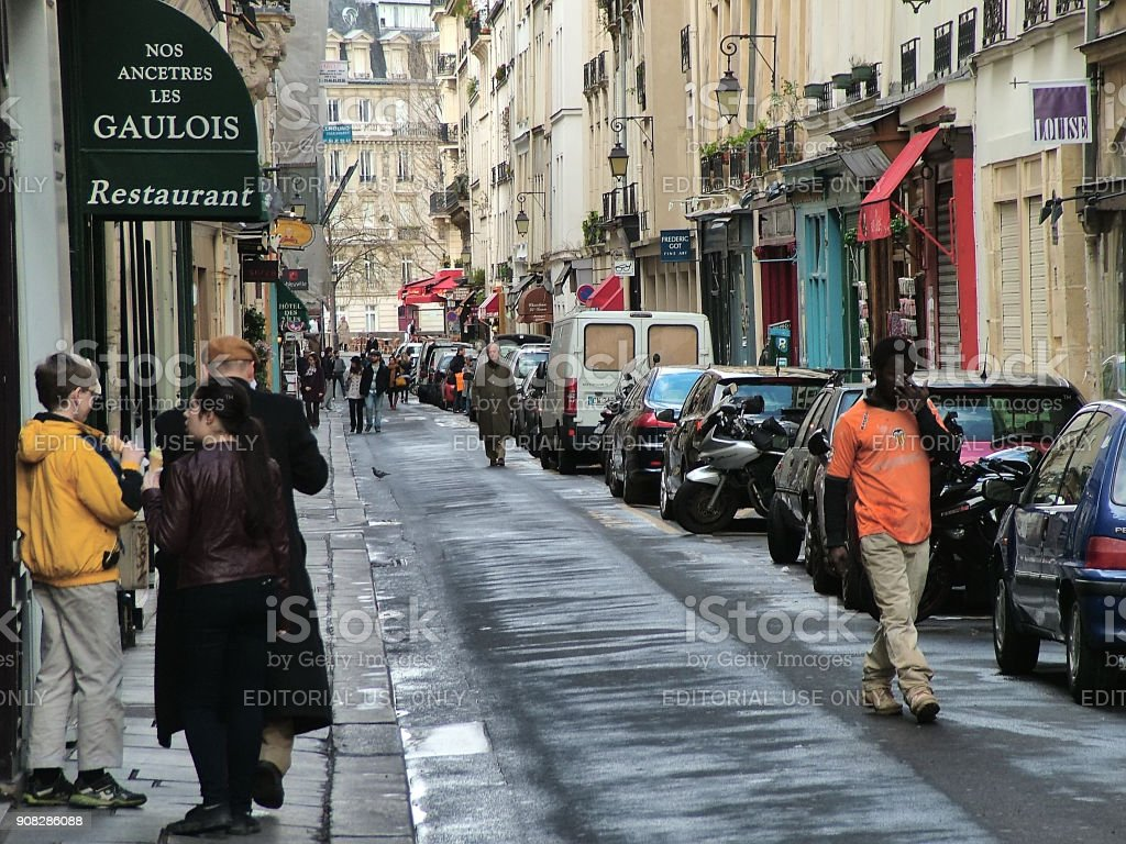On the main street of Saint-Louis in Paris stock photo