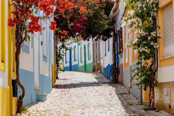 On the narrow Alleys of Ferragudo, Algarve, Portugal stock photo