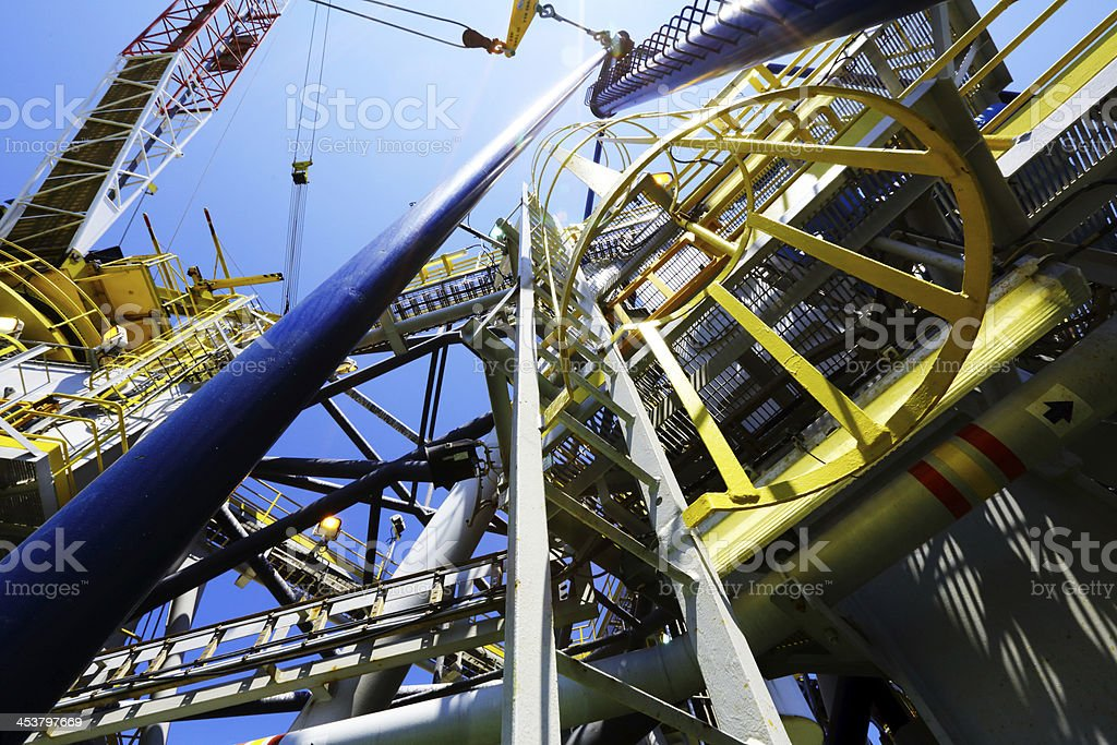 On the offshore drilling rig stock photo