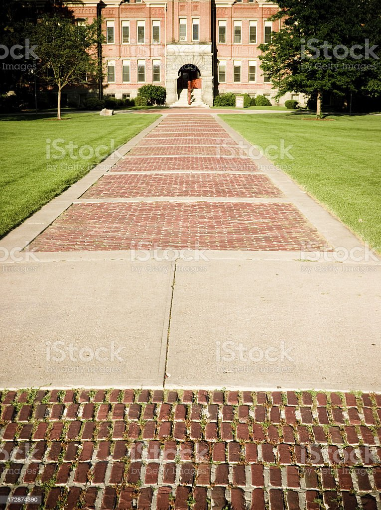On the path to College stock photo
