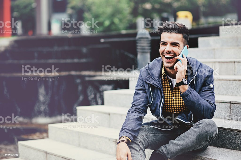 On the phone stock photo
