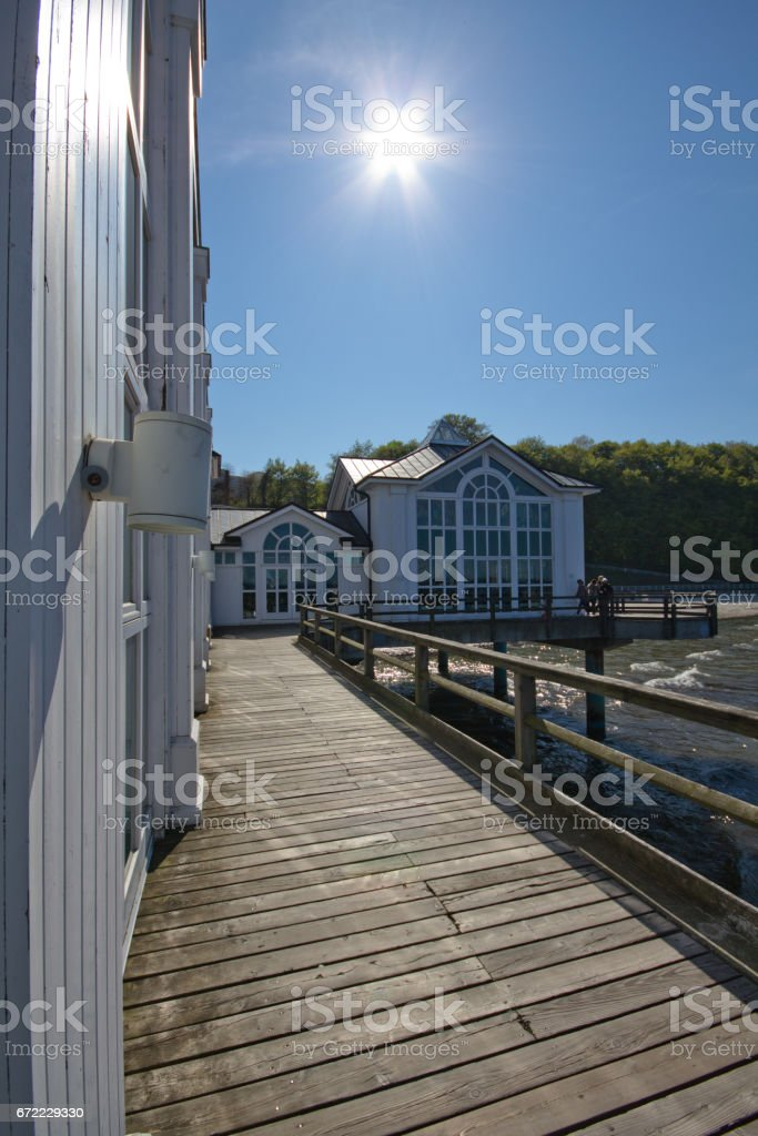 On the pier. Great time on Rügen, Chalk Cliffs, Beaches, Coast and bathing resort Binz. stock photo