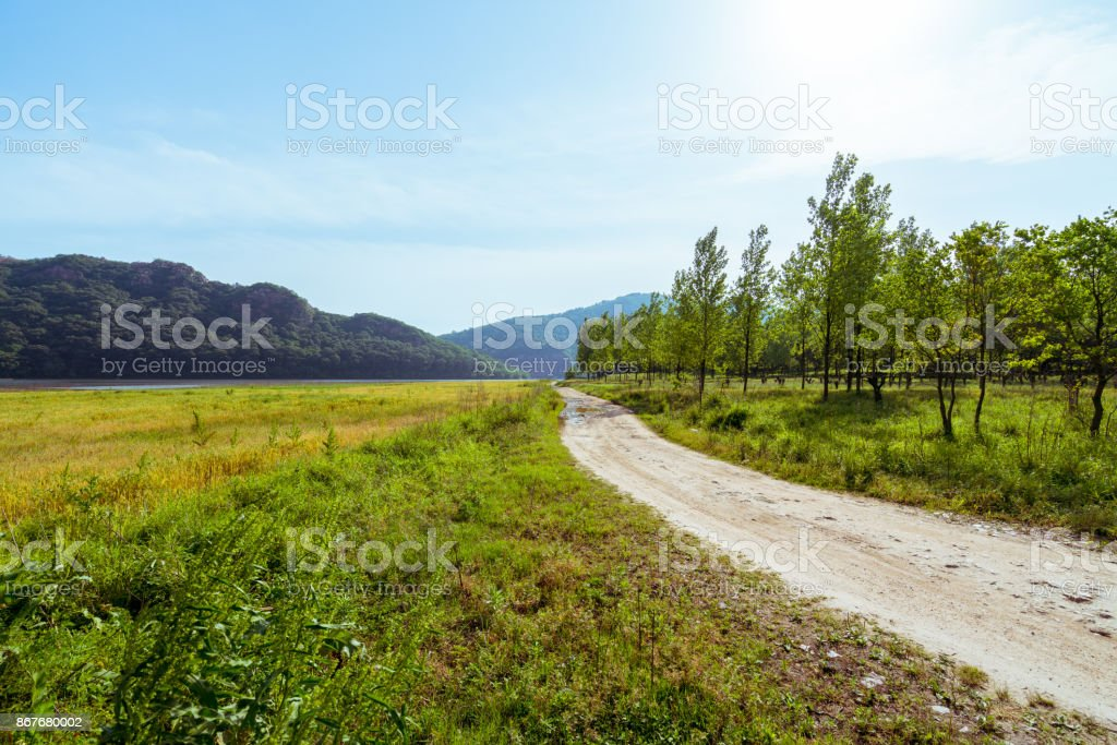 On the plains of small dirt road stock photo