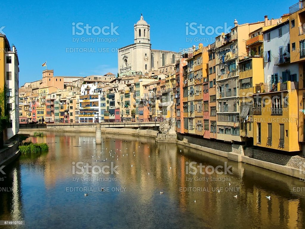 On  the River Onyar in Girona in Catalonia, Spain stock photo
