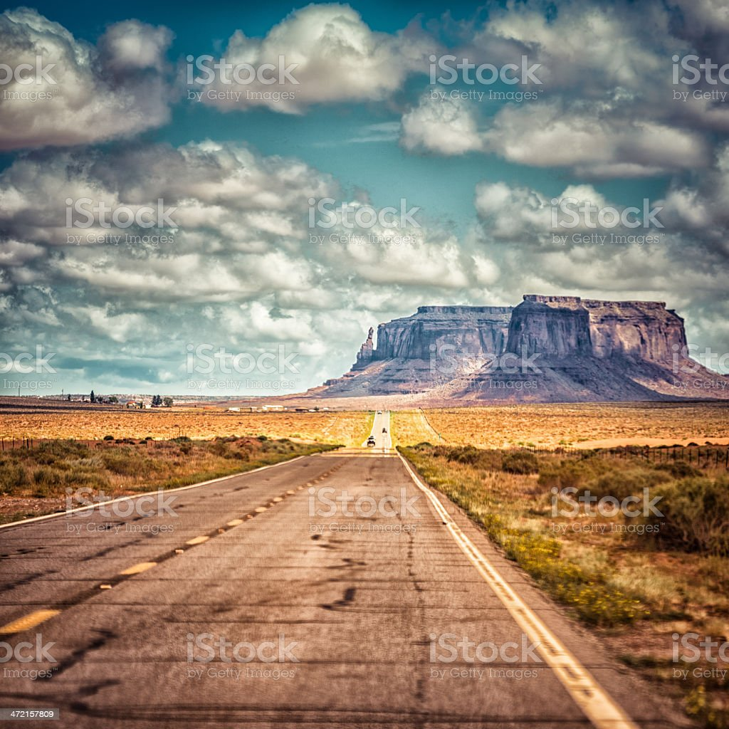 On the road in Monument valley National park desert royalty-free stock photo