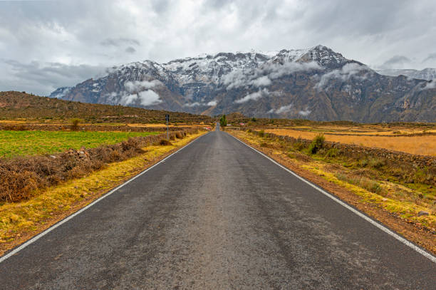On the road in the Andes, Peru stock photo
