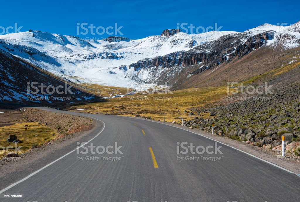 On the road in the Peruvian Andes stock photo