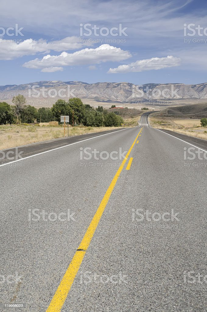 On The Road In Wyoming royalty-free stock photo