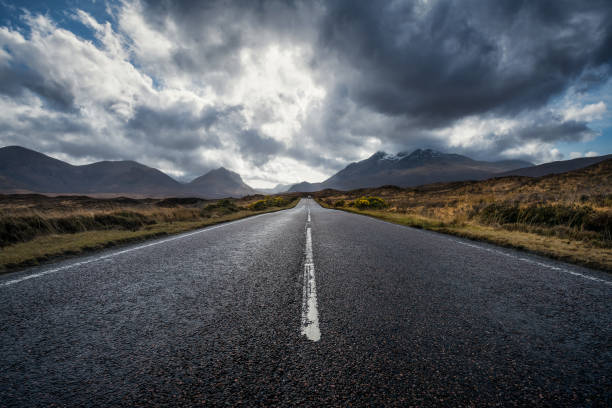 On the road, Isle of Skye, Scotland, UK stock photo
