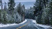 istock On the road of Yellowstone in winter season. 1210474457