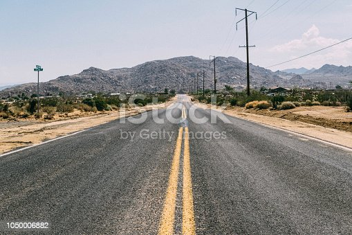 Vintage photo of the route crossing the Mojave desert in California desert (USA)