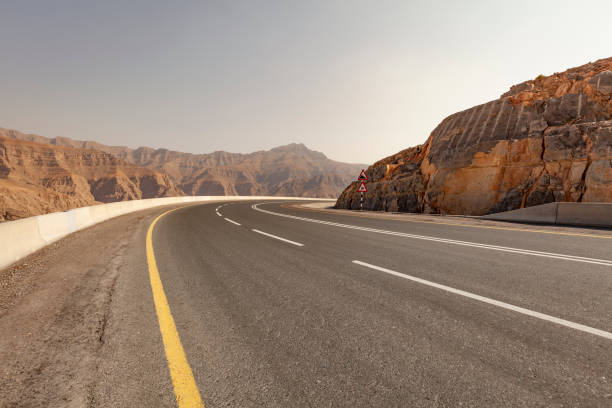 on the road to jebel jais, ras al-khaimah, uae stock photo