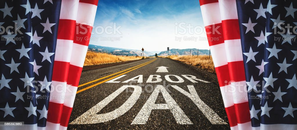 on the road to labor day stock photo