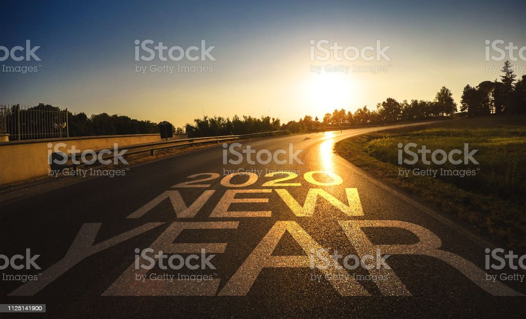 on the road to the new year stock photo